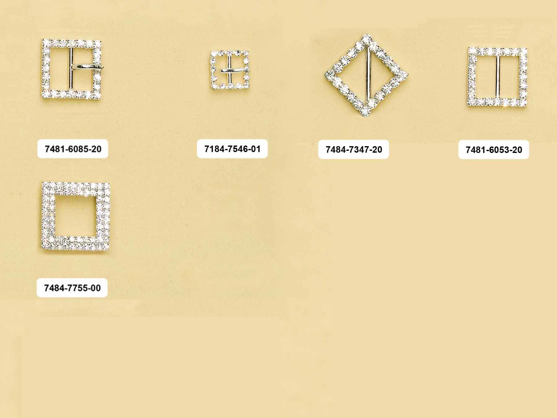 Fibbie quadrate con pietre incastonate